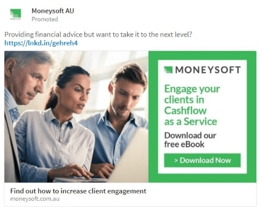 Moneysoft AU ejemplo sponsored content LinkedIn