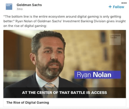 Goldman Sachs ejemplo video ad LinkedIn