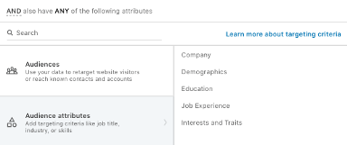 LinkedIn Ads target audience segmentation tool