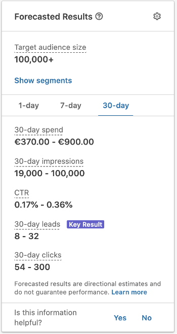 Linkedin Ads spend calculation and investment
